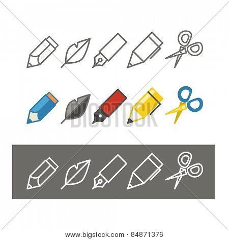 Paint and writing tools collection. Design elements