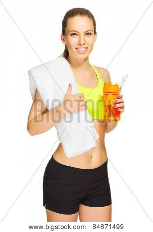 Young sporty girl with towel and water bottle  isolated