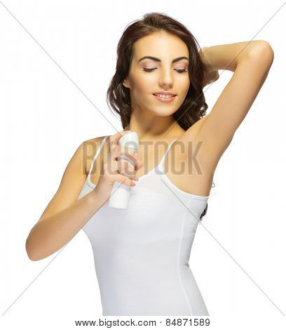 Young smiling girl with deodorant isolated