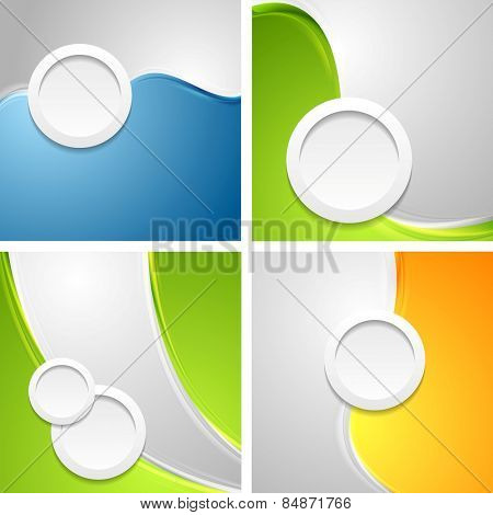 Shiny waves backgrounds with circle shapes. Vector design