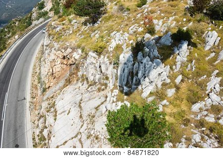 The mountain road in Montenegro.