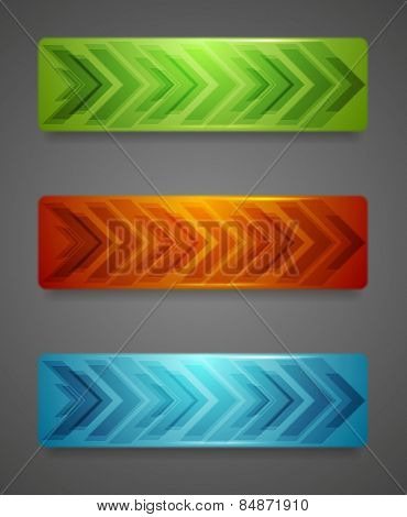 Hi-tech abstract banners with arrows. Vector background