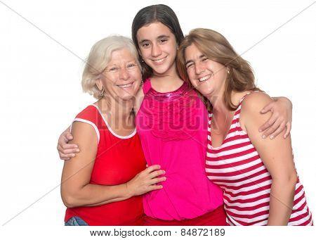 Three generations of hispanic women isolated on a white background