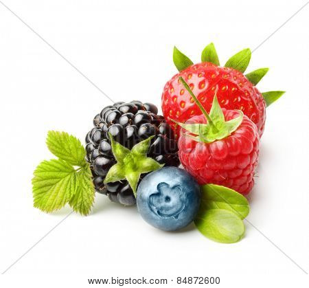 Summer berry fruits. Berries Isolated on White Background
