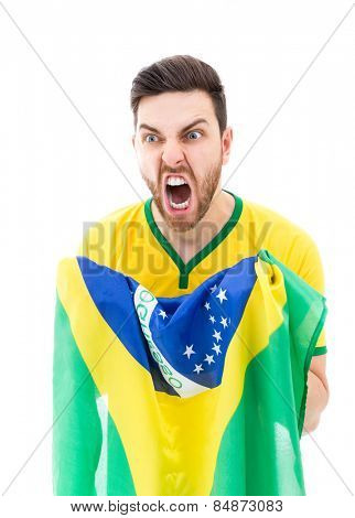 Man looking forward holding the Brazilian flag
