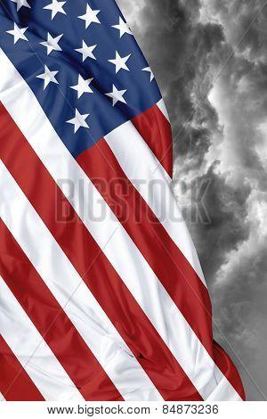 USA waving flag on a bad day