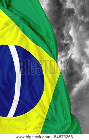 Brazilian waving flag on a bad day