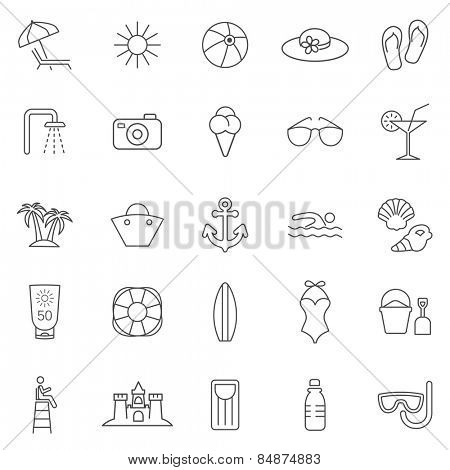Beach line icons set.Vector