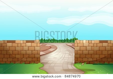 Brick wall with road run through the middle