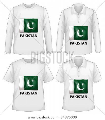 Four white shirts with Pakistan flag