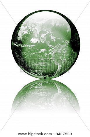 Earth As Green Glass Globe