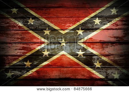 Closeup of Confederate flag on boards