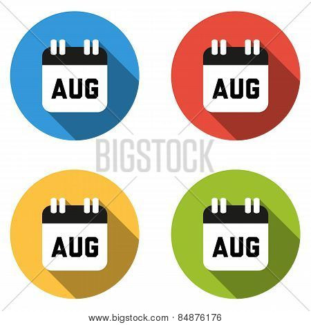 Collection Of 4 Isolated Flat Colorful Buttons For August (calendar Icon)