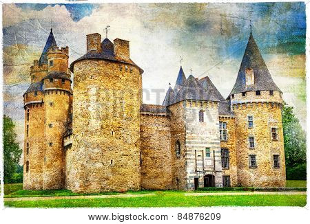 beautiful fairy castles of France , artistic picture, with texture
