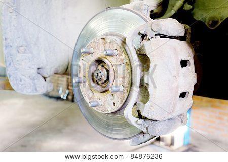 Disk brake assembly on a modern car