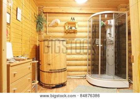 Shower cubicle and cedar barrel