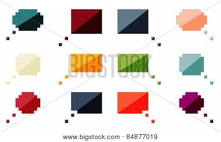 Collection Of 12 Isolated Flat Colorful Speech Bubbles