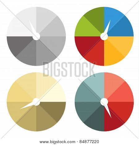 Collection Of 4 Isolated Colorful Circle Charts