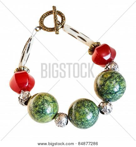 Bracelet From Red Jade And Green Serpentine Stones