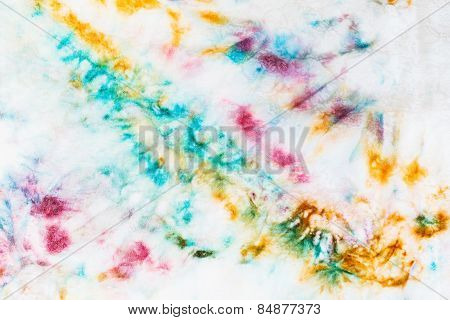Abstract Spots Of Batik Painted On White Silk