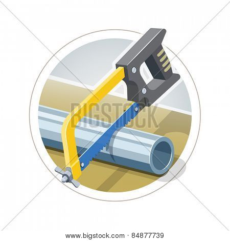 Hacksaw cut metallic pipe. Eps10 vector illustration. Isolated on white background
