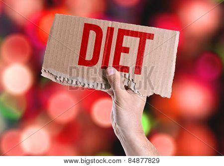 Diet card with colorful background with defocused lights