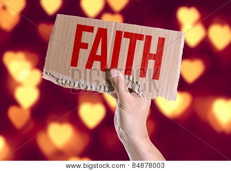 Faith card with heart bokeh background