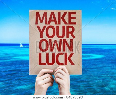 Make Your Own Luck card with beach background