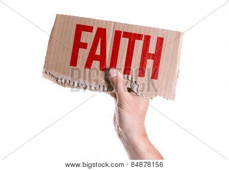 Faith card isolated on white background