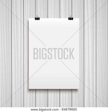 Vector white poster on white wooden background