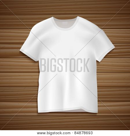 Vector blank white t-shirt on wooden background