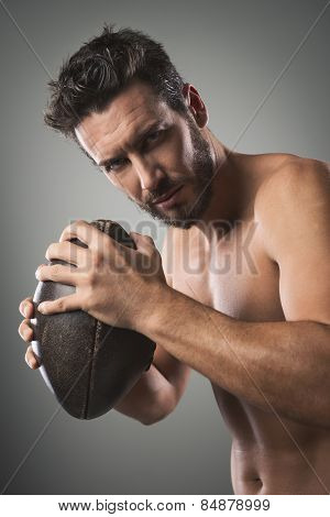 Shirtless Football Player