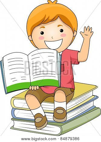 Illustration of a Little Boy Holding an Open Book While Raising His Hand
