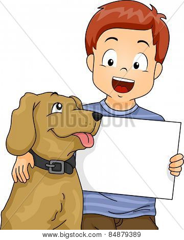Illustration of a Little Boy Holding a Blank Board While Putting His Arms Around His Dog