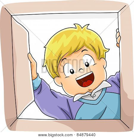 Illustration of a Little Boy Smiling Happily While Opening a Box