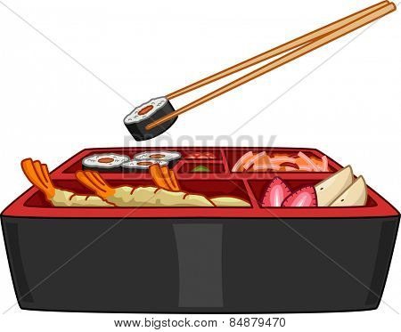 Illustration of a Typical Japanese Bento With a Pair of Chopsticks Hanging on the Side