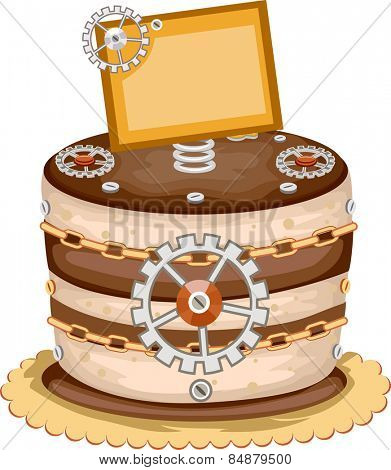 Illustration of an Appetizing Cake Decorated With Gears and Wheels