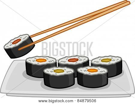 Illustration of a Plate Full of Sushi With a Pair of Chopsticks Hovering Above