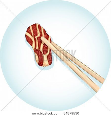 Illustration of a Pair of Chopsticks Holding a Piece of Beef