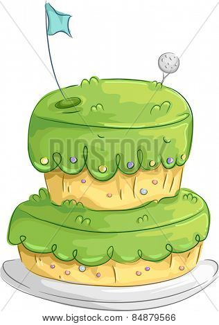 Illustration of an Appetizing Cake Designed to Resemble a Golf Course