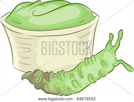 Illustration of a Wasabi Stem Lying Beside a Cup of Wasabi Paste