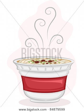 Illustration of a Steaming Cup of Instant Noodles