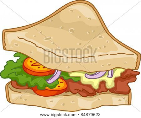Illustration of a Club House Sandwich Overflowing With Ingredients