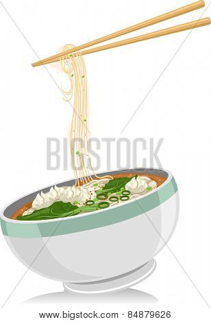 Illustration of a Bowl of Wonton Noodles With a Pair of Chopsticks Hovering Above