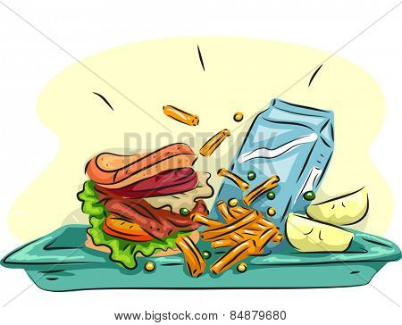Illustration of a School Lunch Composed of a Burger, Fries, Fruits, and a Carton of Milk