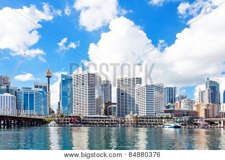 skyline and office building at seashore