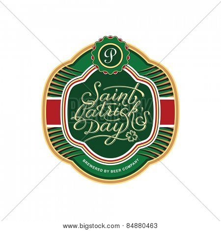 Saint Patrick's bottle label template. Vector illustration