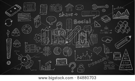 Social Media doodles Sketch set with infographics elements isolated, vector shapes. It include lots of icons included graphs, stats, devices,laptops, clouds, concepts and so on.