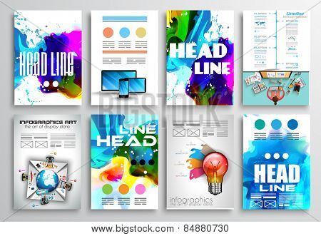 Set of Flyer Design, Infographics Brochure Designs, Technology Backgrounds. Mobile Technologies, Teamworksand statistic Concepts and Applications covers.
