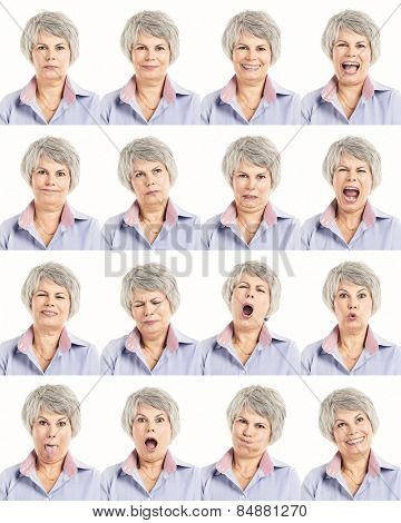 Multiple collage of a elderly woman in different expressions